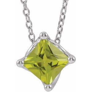"""14K White Peridot Solitaire 16-18"""" Necklace"""