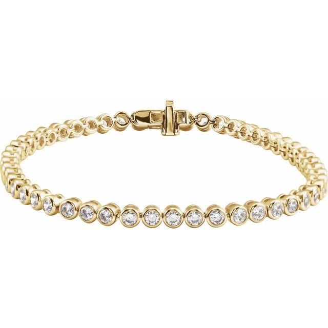 "14K Yellow 3 1/2 CTW Lab-Grown Diamond Bezel-Set 7"" Bracelet"