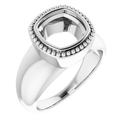 Beaded Bezel-Set Solitaire Ring