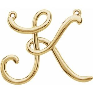 14K Yellow Script Initial K Necklace Center