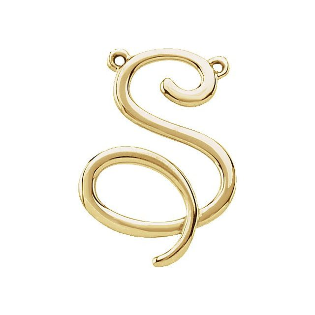 14K Yellow Script Initial S Necklace Center