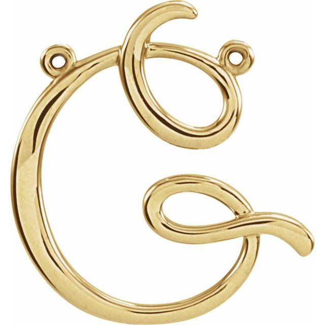 14K Yellow Script Initial G Necklace Center