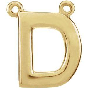14K Yellow Block Initial D Necklace Center