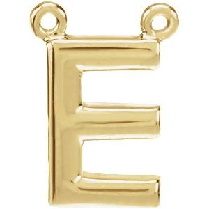 14K Yellow Block Initial E Necklace Center