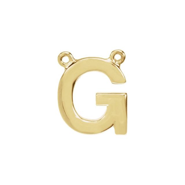 14K Yellow Block Initial G Necklace Center