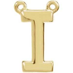 14K Yellow Block Initial I Necklace Center