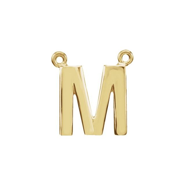 14K Yellow Block Initial M Necklace Center
