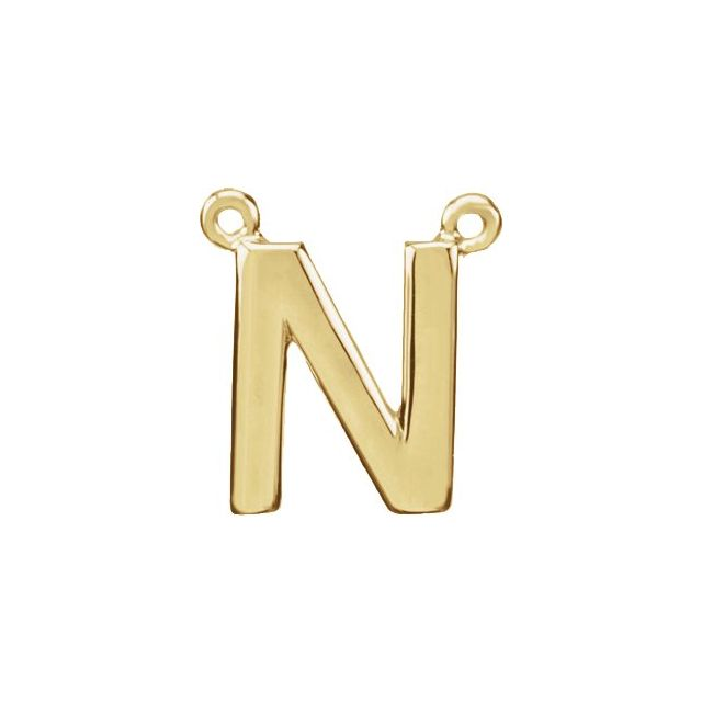 14K Yellow Block Initial N Necklace Center