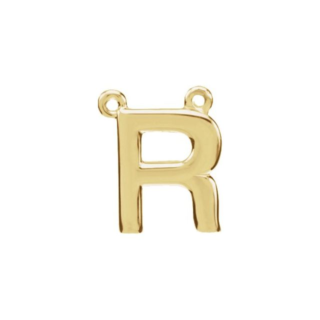 14K Yellow Block Initial R Necklace Center
