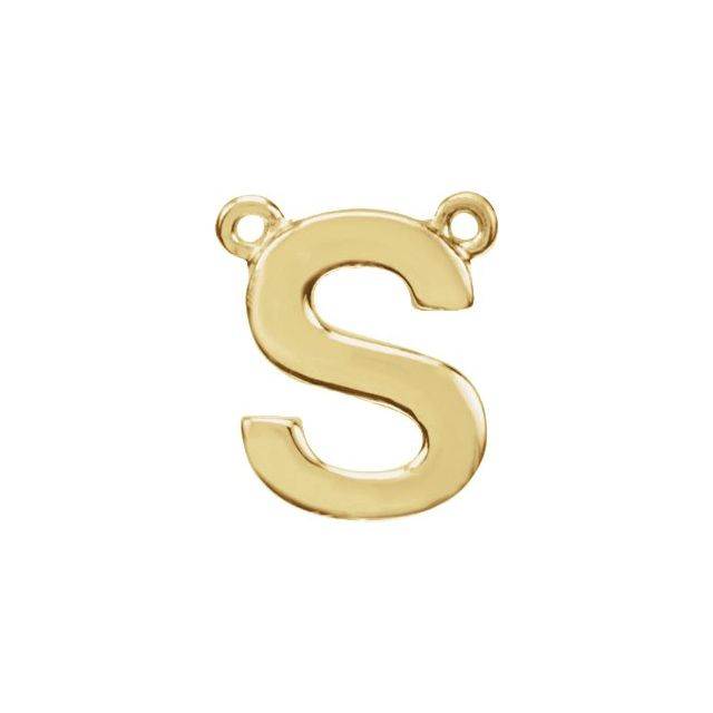14K Yellow Block Initial S Necklace Center
