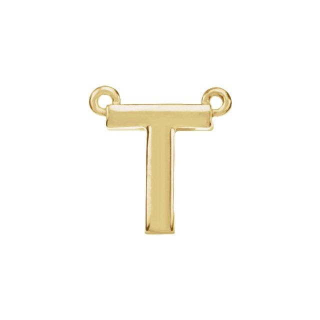 14K Yellow Block Initial T Necklace Center