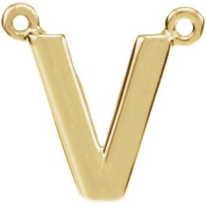 14K Yellow Block Initial V Necklace Center