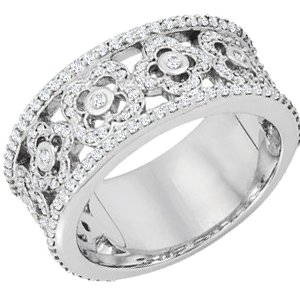 14K White 5/8 CTW Diamond Etruscan Anniversary Band