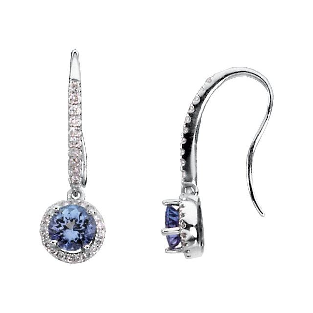 14K White Tanzanite & 3/8 CTW Diamond Earrings