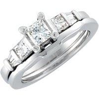 14K White 1 1/8 CTW Diamond Engagement Ring