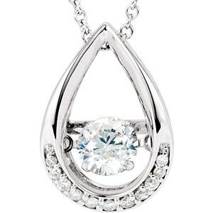 "14K White 1/8 CTW Diamond Mystara® 18"" Necklace"