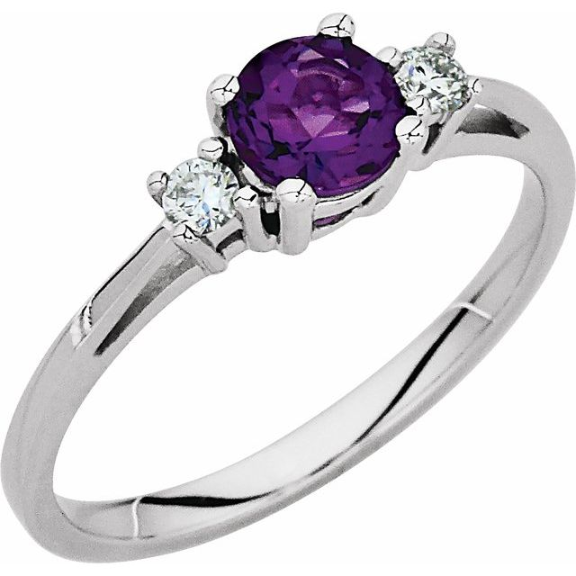 Amethyst & Diamond Accented Ring