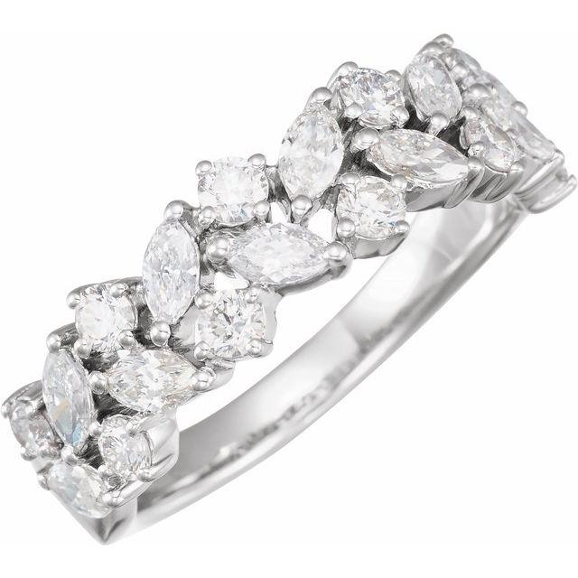 14K White 1 1/3 CTW Diamond Anniversary Band