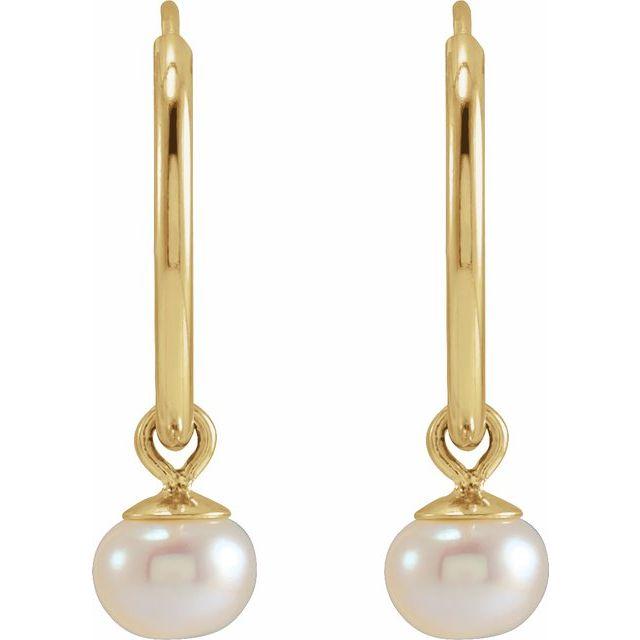 14K Yellow Cultured Freshwater Pearl 12 mm Huggie Earrings