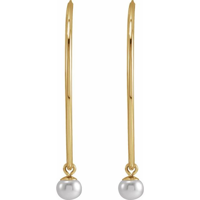 14K Yellow Cultured Freshwater Pearl 30 mm Hoop Earrings