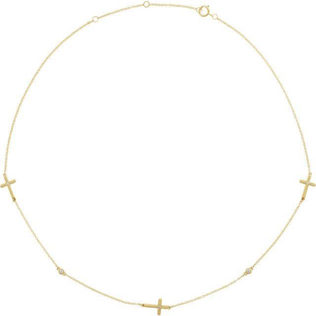 "14K Yellow 1/10 CTW Diamond 5-Station Cross Adjustable 16-18"" Necklace"