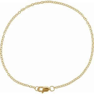 "14K Yellow 1.5 mm Solid Cable Chain 7"" Bracelet"