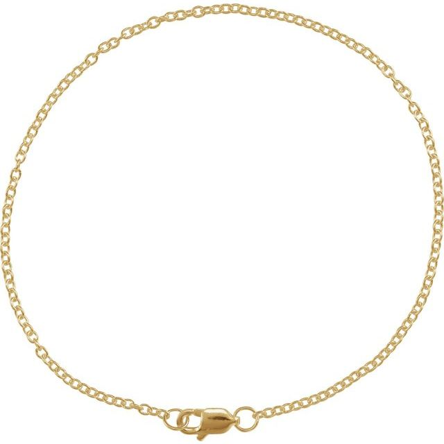 14K Yellow Gold Filled 1.5 mm Solid Cable Chain 7