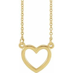 "14K Yellow 10.8x10 mm Heart 16"" Necklace"