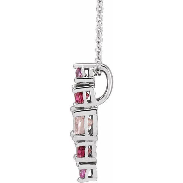 14K White Pink Multi-Gemstone Bar 16-18