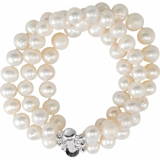 Sterling Silver 8-9 mm Freshwater Cultured Pearl Triple Strand 7.25