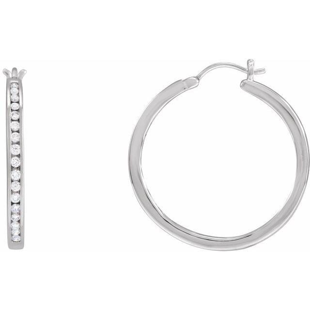 14K White 1/2 CTW Diamond Hoop Earrings