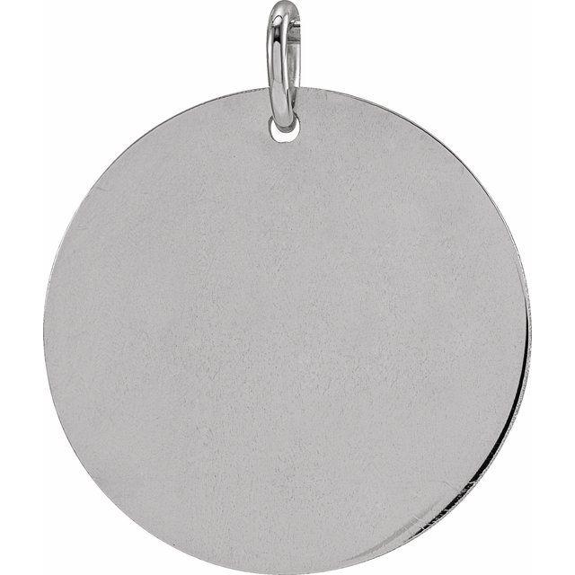 14K White 19 mm Round Disc Pendant