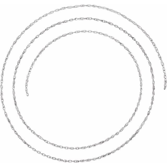 14K White 1.25 mm Rope Per Inch Chain