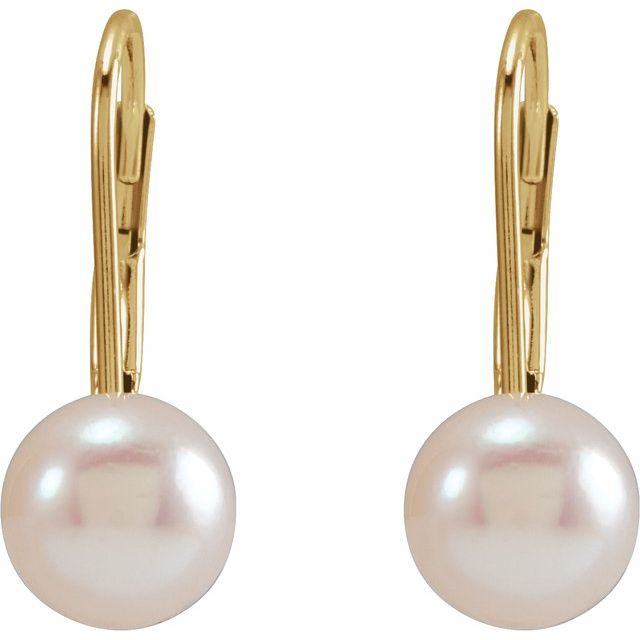 14K Yellow 6 mm Round Akoya Cultured Pearl Lever Back Earrings