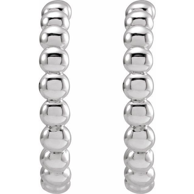 Sterling Silver 17 mm Beaded Hoop Earrings