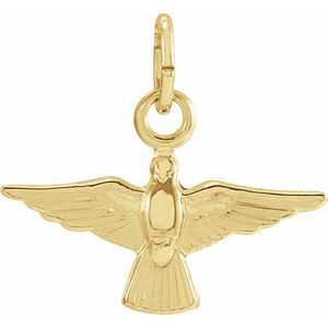 14K Yellow 14x10 mm Dove Pendant