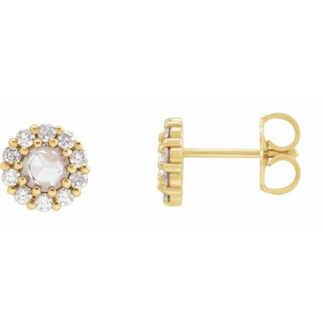 14K Yellow 1/5 CTW Rose-Cut Diamond Halo-Style Earrings