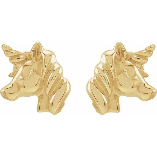 14K Yellow Youth Unicorn Earrings