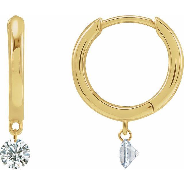 14K Yellow 1/3 CTW Drilled Diamond Hinged Hoop Earrings