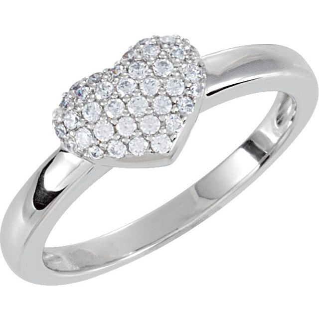 Sterling Silver Cubic Zirconia Pave Heart Ring Size 8