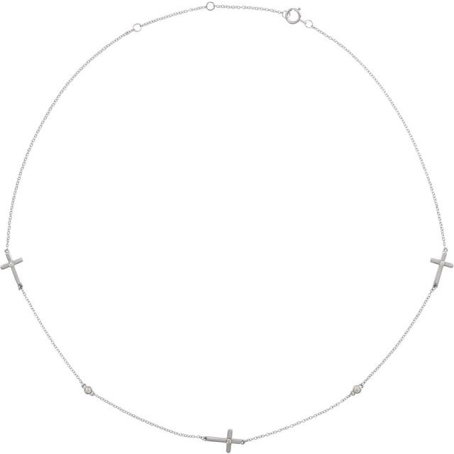 "14K White 1/10 CTW Diamond 5-Station Cross Adjustable 16-18"" Necklace"