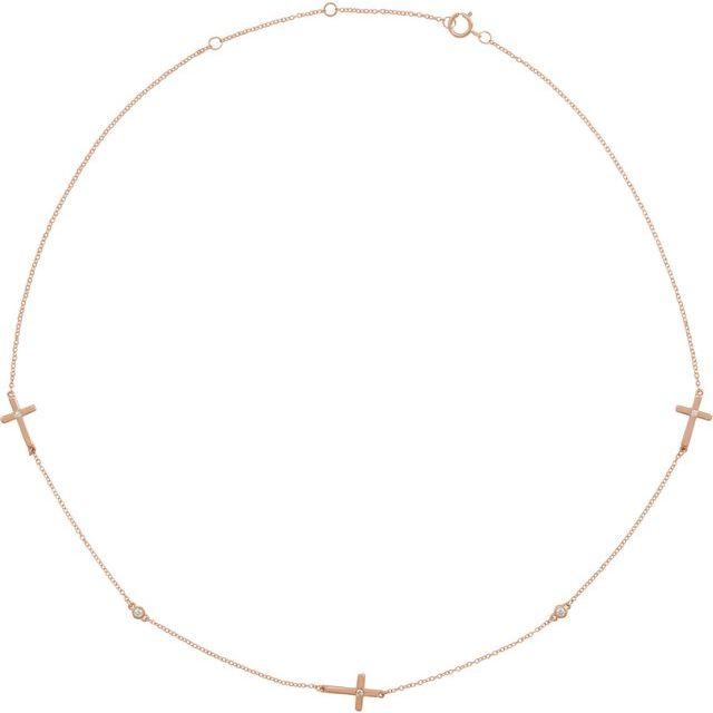 "14K Rose 1/10 CTW Diamond 5-Station Cross Adjustable 16-18"" Necklace"