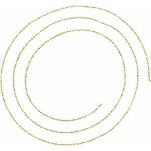 14K Yellow 1mm Diamond-Cut Bead Chain by the Inch