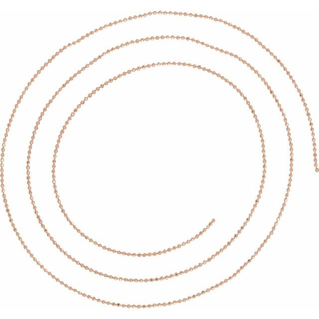 14K Rose 1mm Diamond-Cut Bead Chain by the Inch