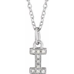"14K White .03 CTW Diamond Petite Initial I 16-18"" Necklace"
