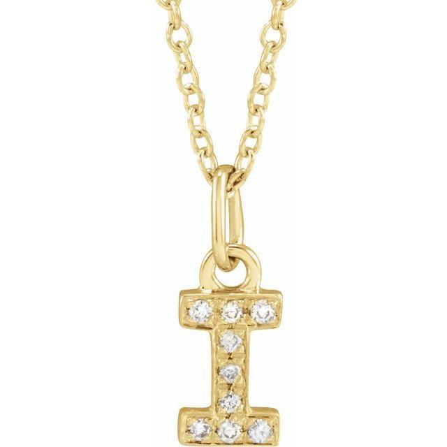 14K Yellow .03 CTW Diamond Petite Initial I 16-18