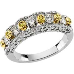 14K White & Yellow 3/4 CTW Diamond Anniversary Band