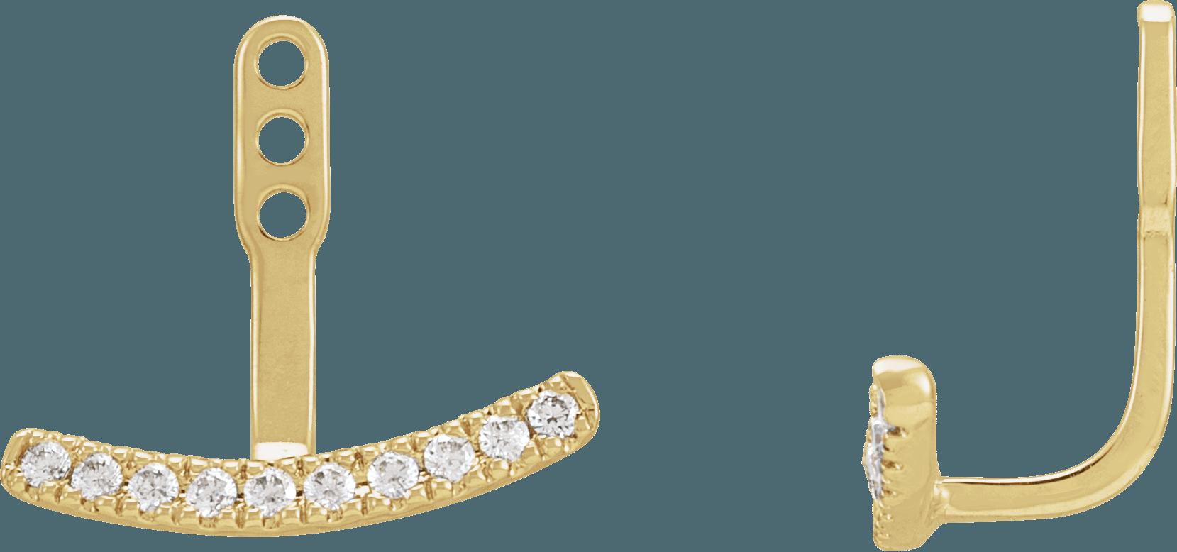 Lab-Grown Diamond Curved Bar Earring Jackets