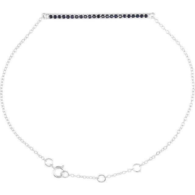 """14K White Blue Sapphire 8"""" Bracelet"""