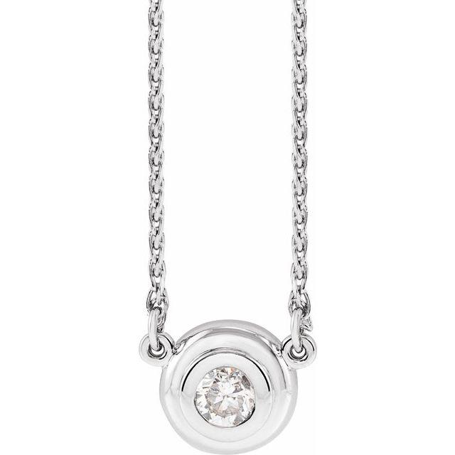 14K White 1/4 CT Diamond Bezel-Set Solitaire 18